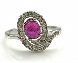 12.82 Crt Natural Ruby With Cubic Zircon 925 Silver Ring
