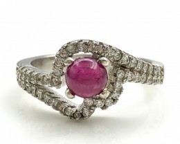 16.35 Crt Natural Ruby With Cubic Zircon 925 Silver Ring