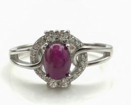17.01 Crt Natural Ruby With Cubic Zircon 925 Silver Ring