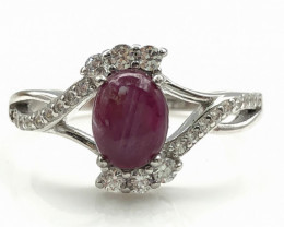 15.64 Crt Natural Ruby With Cubic Zircon 925 Silver Ring