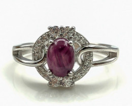 16.44 Crt Natural Ruby With Cubic Zircon 925 Silver Ring