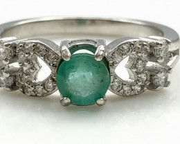 15.67 Crt Natural Emerald With Cubic Zircon 925 Silver Ring