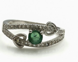 11.26 Crt Natural Emerald With Cubic Zircon 925 Silver Ring