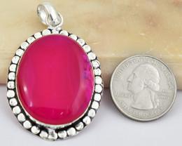Genuine 80.00 Cts Pink Onyx Tibet Silver Pendant