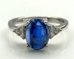 12.57 Crt Natural Sapphire With Cubic Zircon 925 Silver Ring