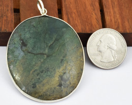 Genuine 113.00 Cts Moss Agate Tibet Silver Pendant