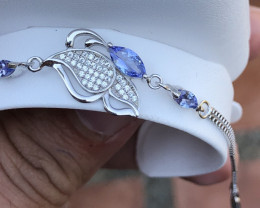 Natural Tanzanite With Cz 925 Silver Bracelet