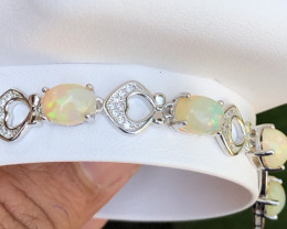 Natural Opal With CZ 925 Silver Bracelet