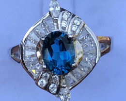 Natural London Blue Topaz With Cz 925 Silver Ring