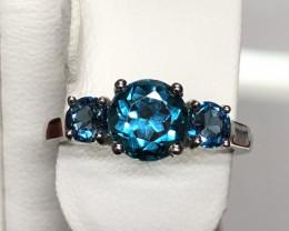 Natural London Blue Topaz 925 Silver Ring
