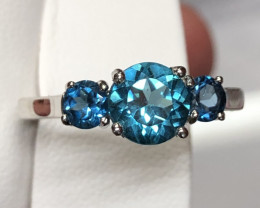 Natural London Blue Topaz 925 Silver Ring