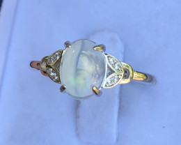 Natural Opal With CZ 925 Silver Ring