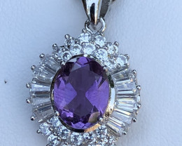 Natural Amethyst with Cz 925 Silver Necklace + Chain