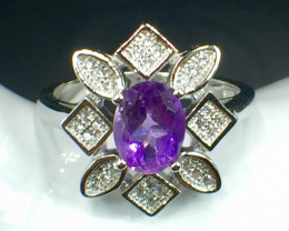 Natural Amethyst Beautiful Gemstone. Silver925 Ring. DAT 121