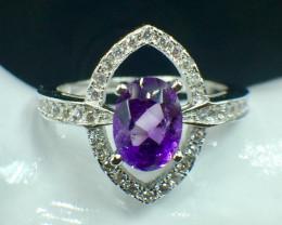 Natural Amethyst Beautiful Gemstone. Silver925 Ring. DAT 123