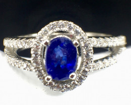 Natural Blue Sapphire Good Quality Gemstone.Silver925 Ring. DBS 130