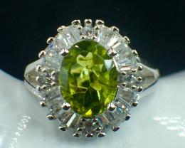 Natural Peridot Beautiful Gemstone. Silver925 Ring. DPD 131