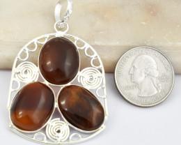 Genuine 71.00 Cts Tibet Silver Onyx Pendant