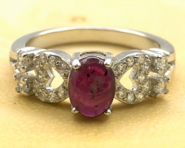 15.03 Crt Natural Ruby With Cubic Zircon 925 Silver Ring
