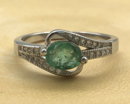 11.90 Crt Natural Emerald  With Cubic Zircon 925 Silver Ring