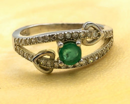 11.09 Crt Natural Emerald With Cubic Zircon 925 Silver Ring
