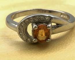 12.26 Crt Natural Sapphire With Cubic Zircon 925 Silver Ring