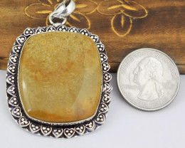 Genuine 100.00 Cts Coral Fossil Tibet Silver Pendant