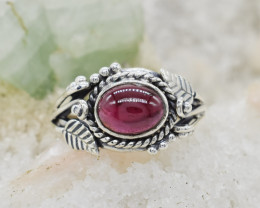 GARNET RING 925 STERLING SILVER NATURAL GEMSTONE JR113