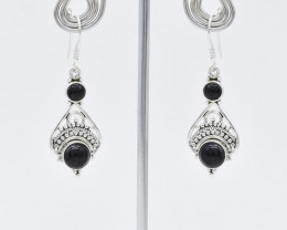 BLACK ONYX EARRINGS 925 STERLING SILVER NATURAL GEMSTONE JE147