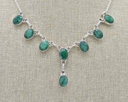 EMERALD NECKLACE NATURAL GEM 925 STERLING SILVER JN108