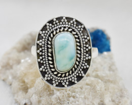 LARIMAR RING 925 STERLING SILVER NATURAL GEMSTONE JR247
