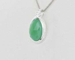 GREEN ONYX PENDANT 925 STERLING SILVER NATURAL GEMSTONE JP164