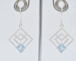 BLUE TOPAZ EARRINGS 925 STERLING SILVER NATURAL GEMSTONE JE158