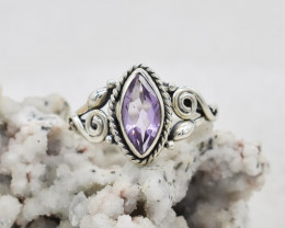 AMETHYST RING 925 STERLING SILVER NATURAL GEMSTONE JR96