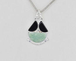 BLACK ONYX /AMAZONITE PENDANT 925 STERLING SILVER NATURAL GEMSTONE JP134