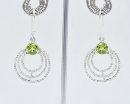PERIDOT EARRINGS 925 STERLING SILVER NATURAL GEMSTONE JE162