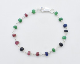 EMERALD/RUBY/BLUE SAPPHIRE BRACELET NATURAL GEM 925 STERLING SILVER JB109