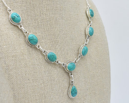 TURQUOISE NECKLACE NATURAL GEM 925 STERLING SILVER JN110