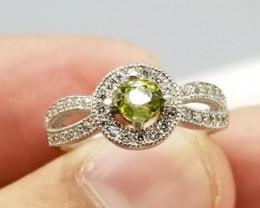 Beautiful Peridot Ring with CZ Zircon