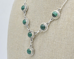 MALACHITE NECKLACE NATURAL GEM 925 STERLING SILVER JN102