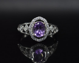 EXCLUSIVE RING Made with Genuine AMETHYST  and Sterling Silver GR574