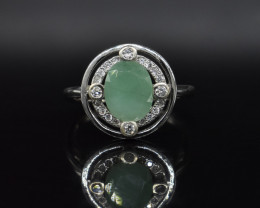 EXCLUSIVE RING Made with Genuine EMERALD and Sterling Silver GR576
