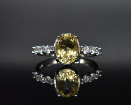 EXCLUSIVE RING Made with Genuine LEMON  and Sterling Silver GR577