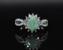 EXCLUSIVE RING Made with Genuine EMERALD and Sterling Silver GR578