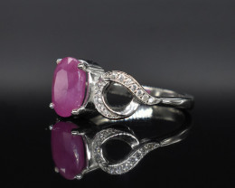 EXCLUSIVE RING Made with Genuine RUBY  and Sterling Silver GR579