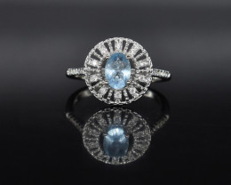 EXCLUSIVE RING Made with Genuine BLUE TOPAZ and Sterling Silver GR580