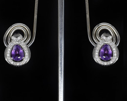 EXCLUSIVE EARRINGS Made with Genuine AMETHYST  and Sterling Silver GE80