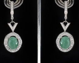 EXCLUSIVE EARRINGS Made with Genuine EMERALD  and Sterling Silver GE82