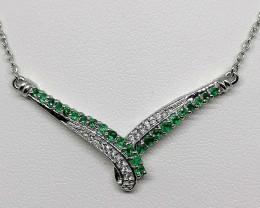 Emerald and Zircon Necklace 0.75 TCW