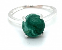 Malachite 3.60ct Platinum Finish Solid 925 Sterling Silver Solitaire Ring,